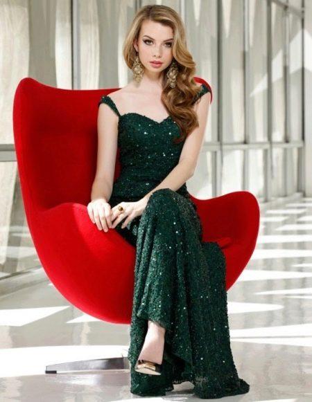 Длинное темно-зеленое платье блестящее с пайетками
