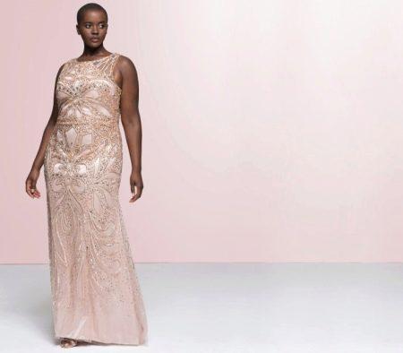 Атласное платье с вышивкой для полных