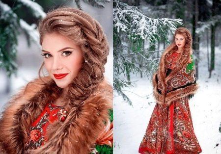 Коса под платье в русском стиле