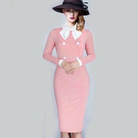Розовое элегантное платье