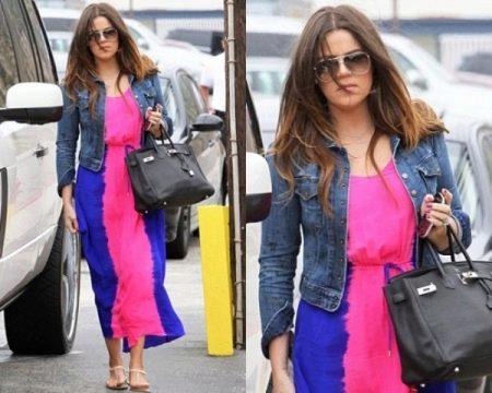 Розово-синее платье