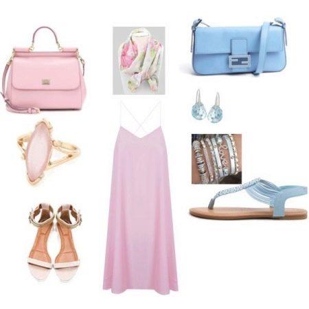 Голубые аксессуары к розовому платью
