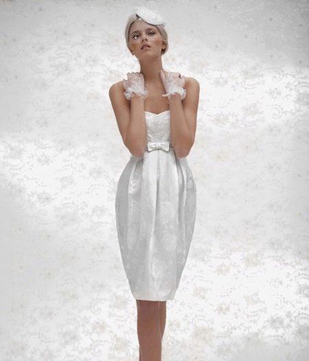Свадебное шелковое платье короткое