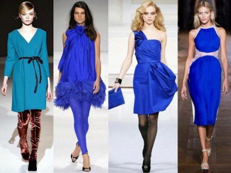 Шелковые синие модели платьев