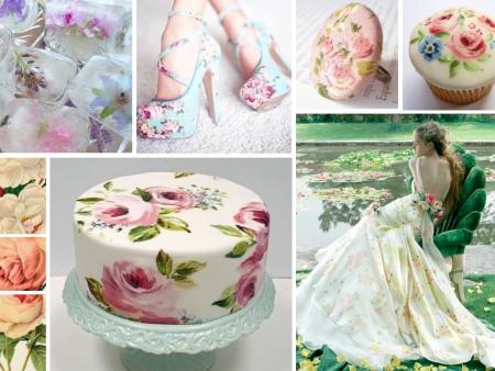 Цветочный принт на свадебном платье, туфлях и торте