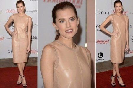 Кожаное платье телесного цвета
