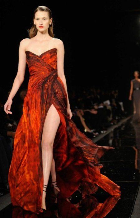 Красивое черно-терракотовое платье