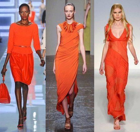 Платья морковного цвета
