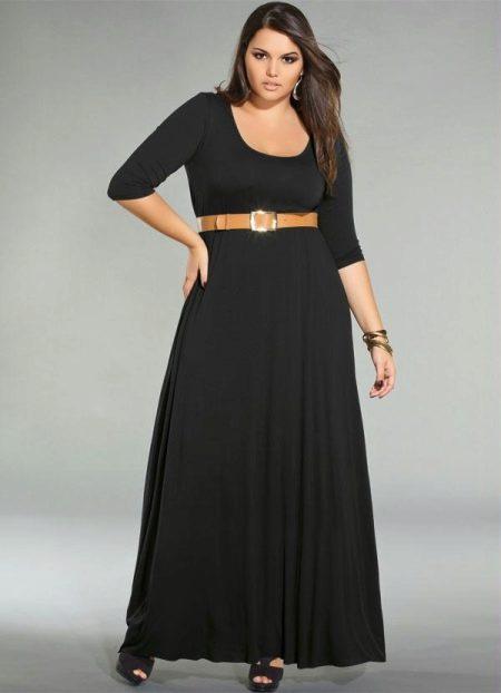 Длинное трикотажное черное платье для полных