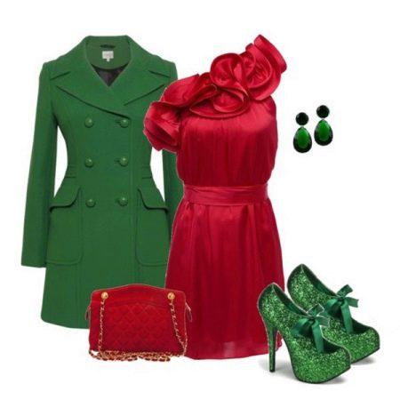 Зеленные аксессуары к вишневому платью