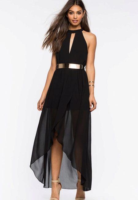 Асимметричное черное длинное платье