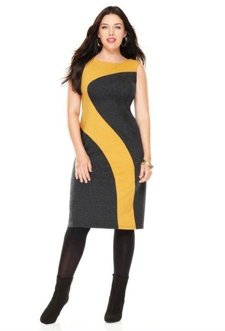 Платье асимметричной черно-желтой расцветки