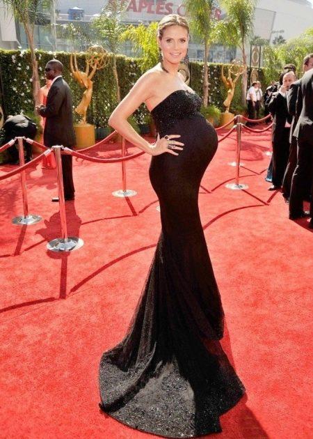 Черное длинное вечернее платье-годе в пол для беременных