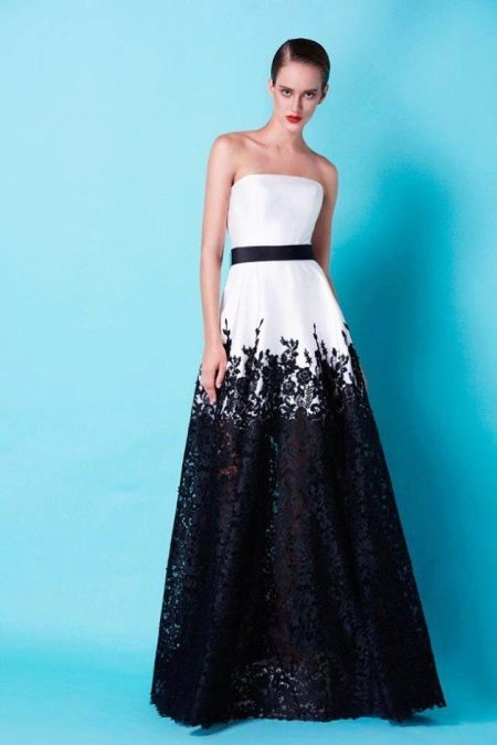 Вечернее платье с юбкой из гипюра