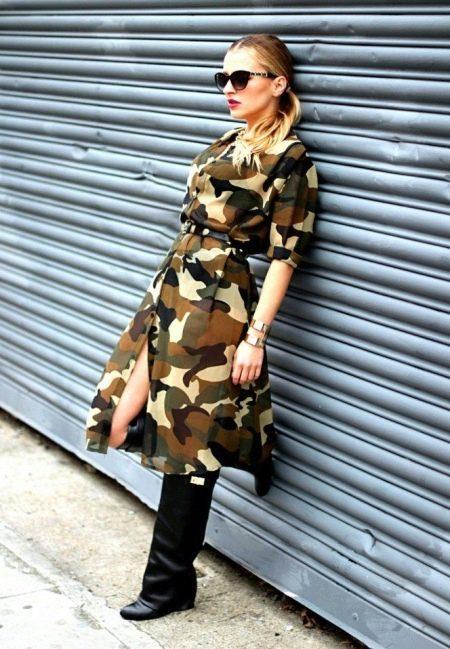 Камуфляжное платье сафари средней длины