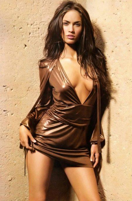 Сексуальное коричневое платье