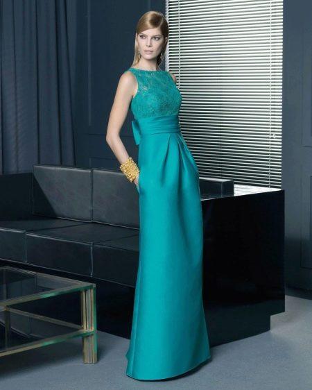 Бирюзовое платье с кружевным верхом