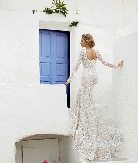 Кружевное платье с открытой спиной русалка