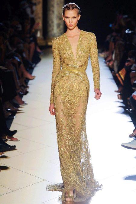 Платье в золотом цвете кружевное