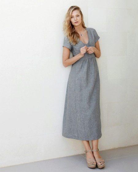 5fe112a1074ef75 Льняные платья: платья из льна с вышивкой и кружевом, длинные и ...
