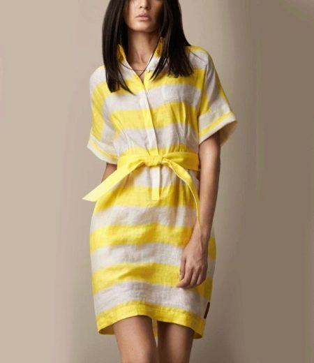Бело-желтое льняное платье