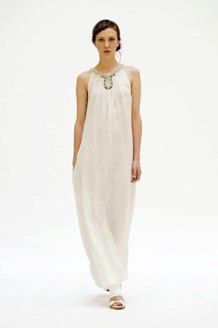 Длинный льняной платье-сарафан