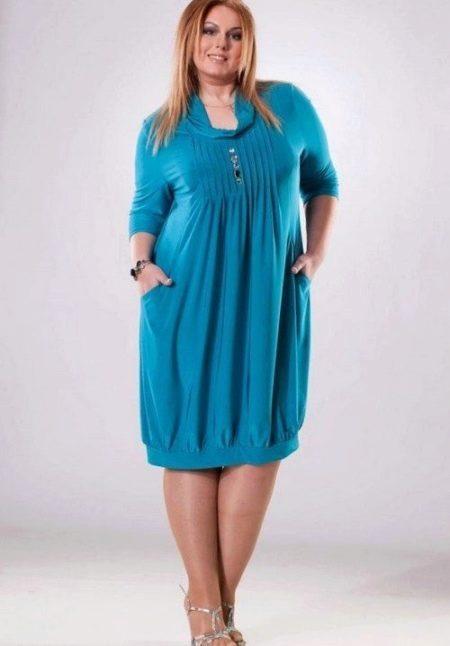 Платье-баллон с рукавом три четверти для полных