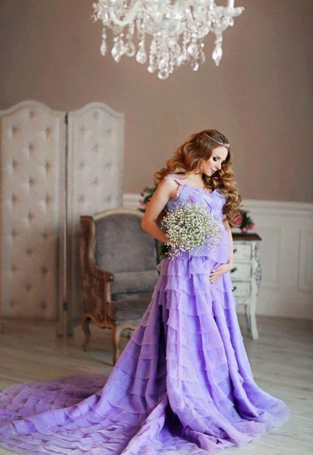 Фотосессия для беременной в длинном платье