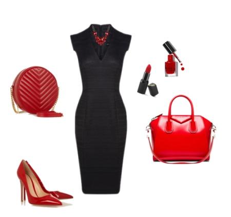 Красные аксессуары к черному платью футляру