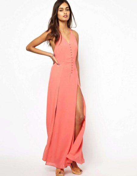 Длинное платье с разрезом из полиэстера