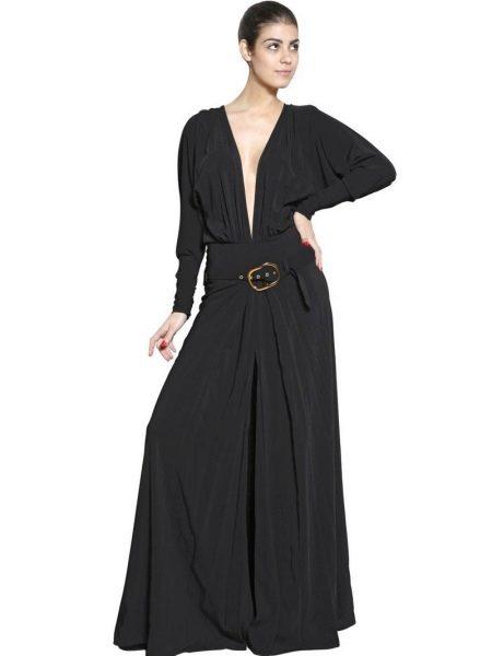 Длинное черное платье из вискозы