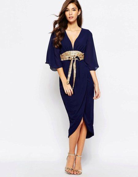 Контрастный пояс к платью кимоно
