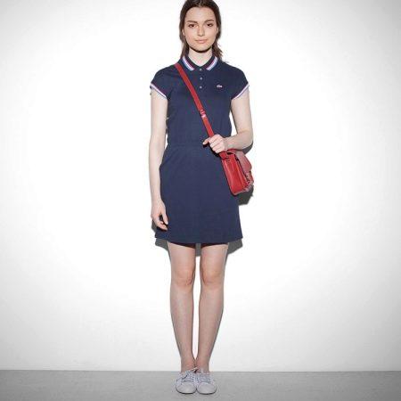 Короткое синее платье-поло
