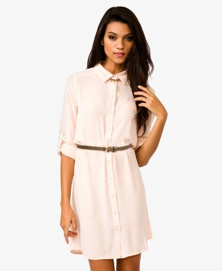 Свободное платье-рубашка из сатина