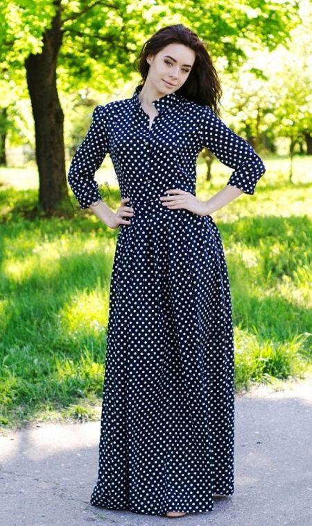 Длинное платье рубашка в горошек