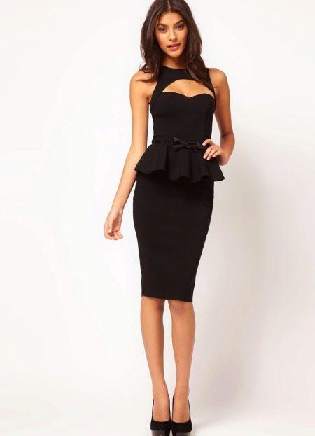 Черное платье с баской и юбкой карандаш