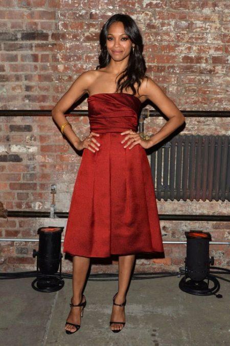 Платье средней длины с юбкой полусолнце из плотного сатина