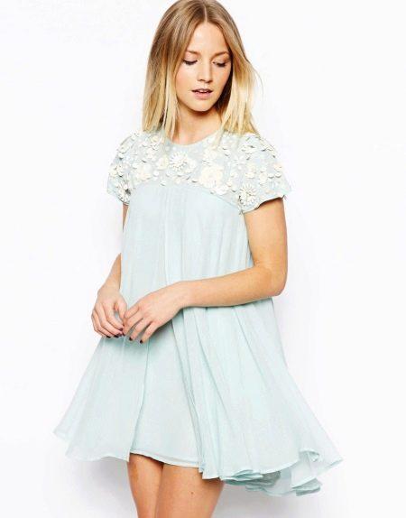 Платье трапеция нежно-голубое