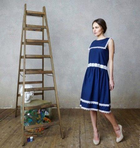 Синее морское платье