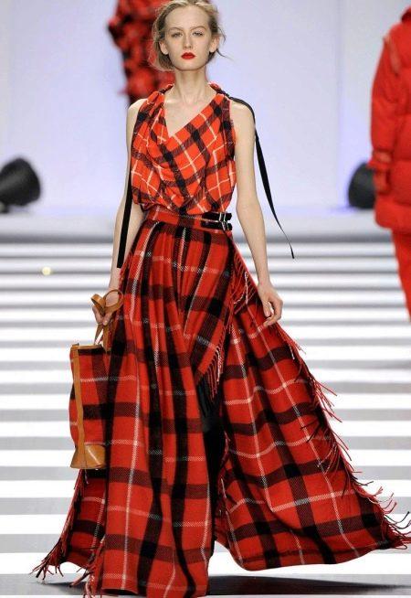 Платье в шотландскую клетку (тартан) красного цвета