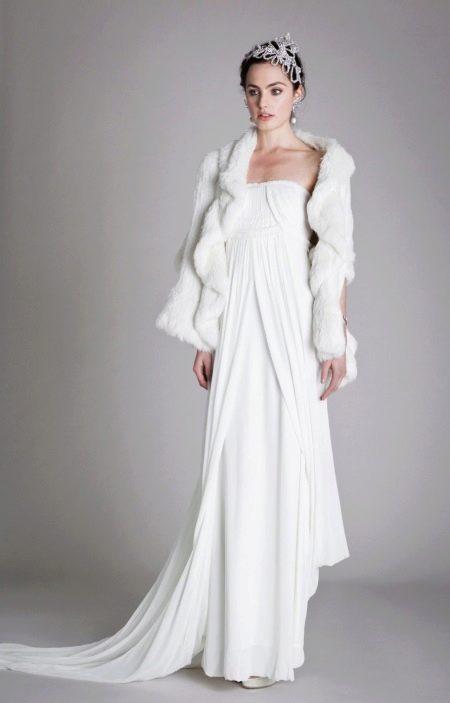 Платье в стиле чикаго с меховой накидкой
