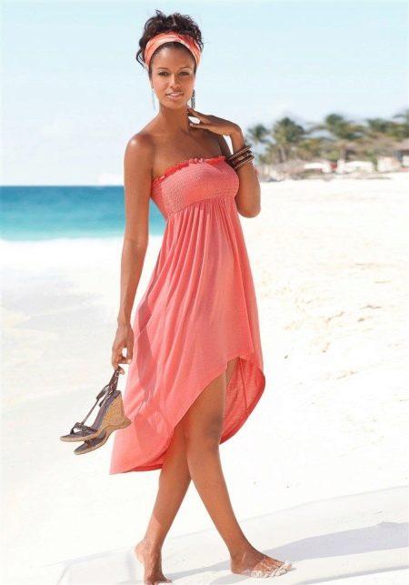 Платье-юбка пляжная персиковая