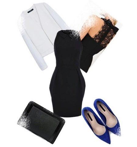 """Платье-футляр со свободной юбкой и аксессуары к нему для фигуры типа """"Перевернутый треугольник"""""""