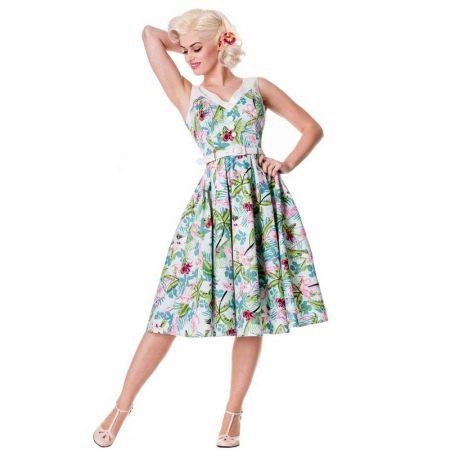 Цветное платье без рукавов в стиле 50-х