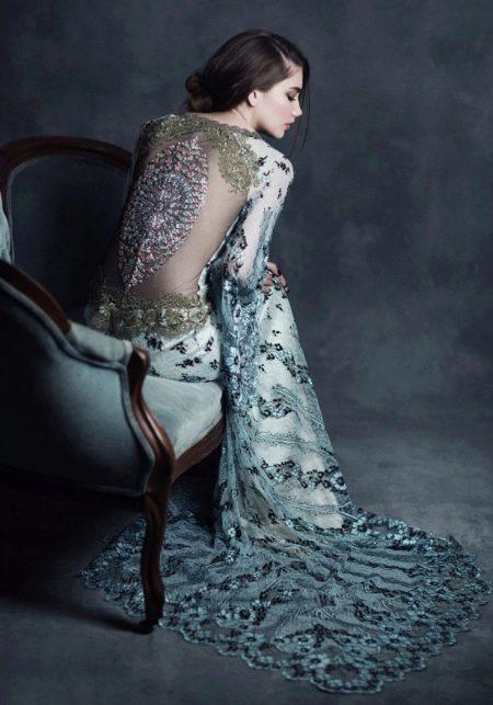 Платье с открытой спиной в стиле барокко