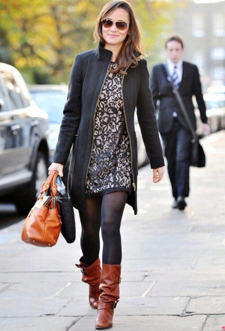 Кружевное повседневное платье с легким пальто на осень