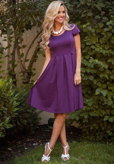 Сереневое повседневное платье из плотного трикотажа
