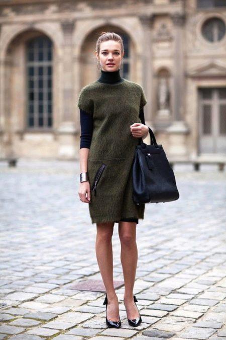 18f12dcde79 Теплое нерстяное повседневное платье цвета хаки