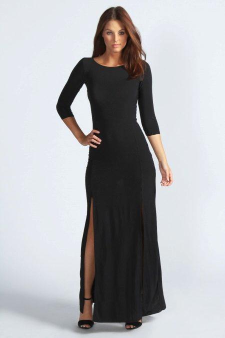 Длинное черное повседневное платье