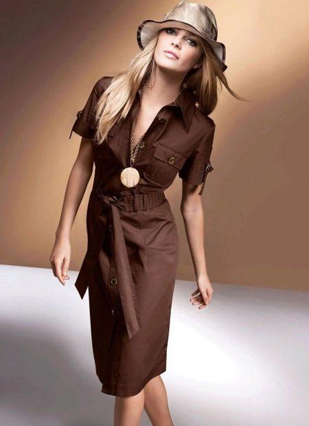 Повседневное платье стиле сафари на работу